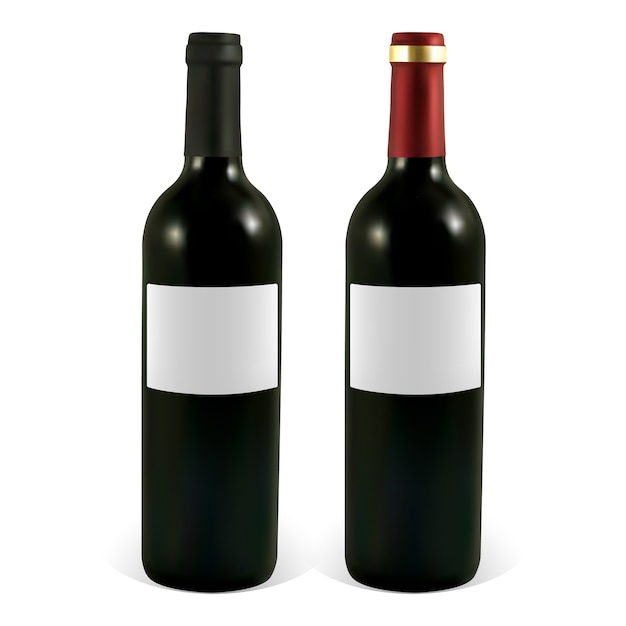 Set weinflaschen mit leeren etiketten. Premium Vektoren