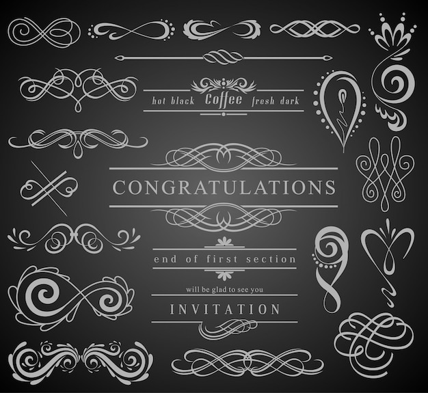Set weinlese-dekorations-elemente Premium Vektoren