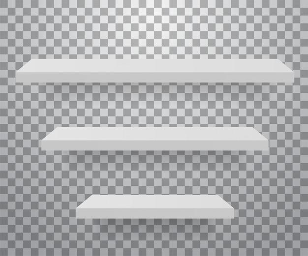 Set weiße verschiedene möbelregale. Premium Vektoren