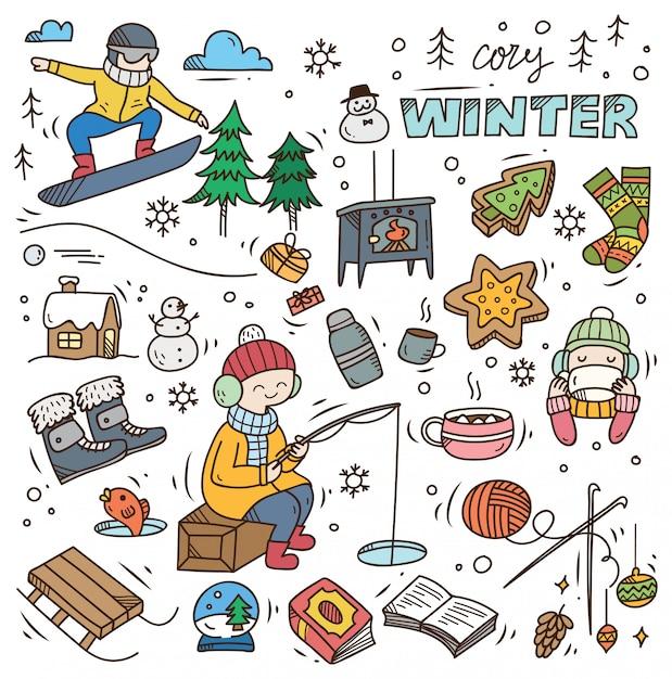 Set winter gekritzel Premium Vektoren
