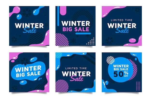 Set winterschlussverkauf instagram pfosten Kostenlosen Vektoren