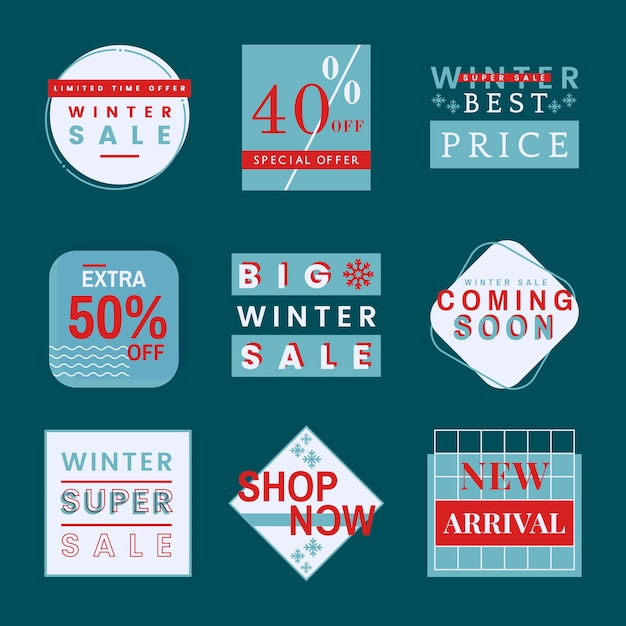 Set winterverkaufs-ausweisvektoren Kostenlosen Vektoren