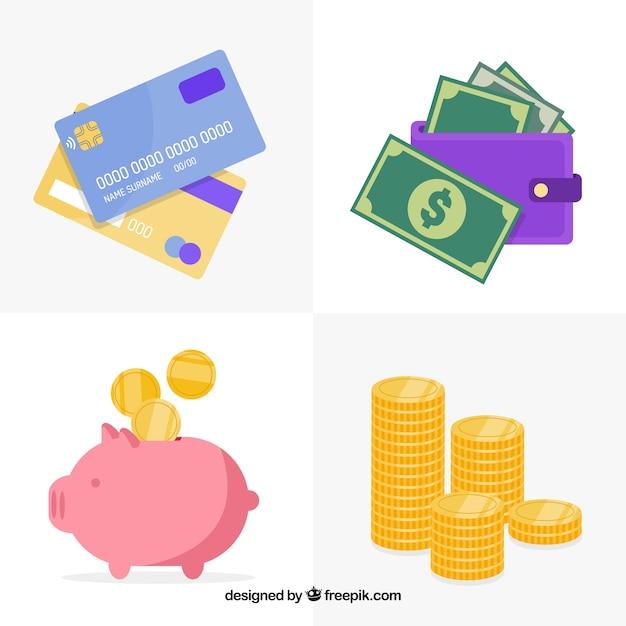 Set wirtschaft elemente Kostenlosen Vektoren