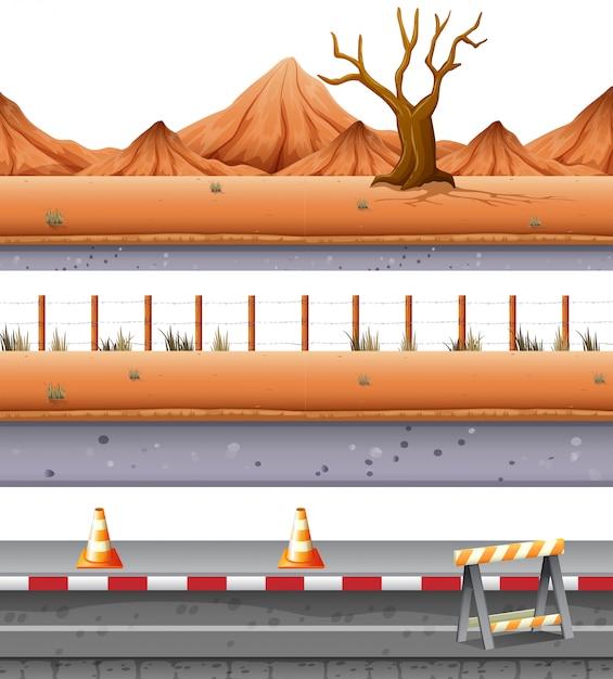 Set wüstenstraße Kostenlosen Vektoren