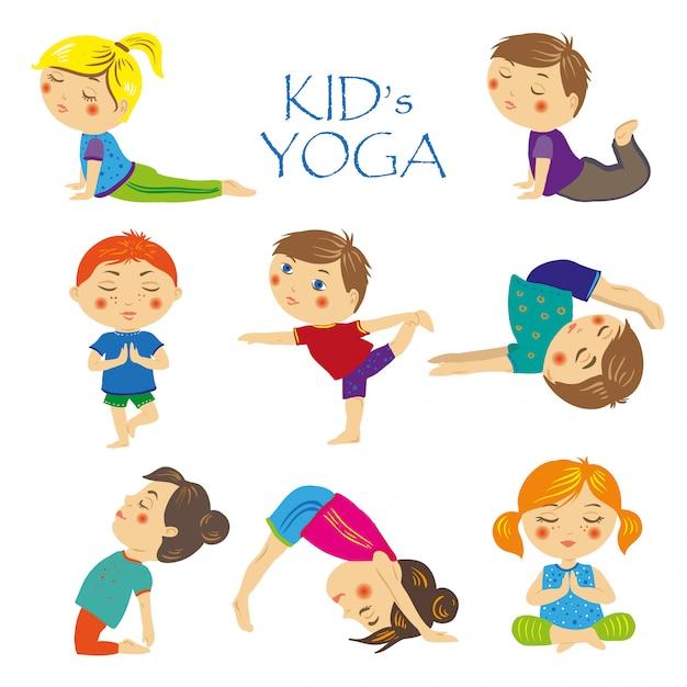 Set yoga für kinder Premium Vektoren