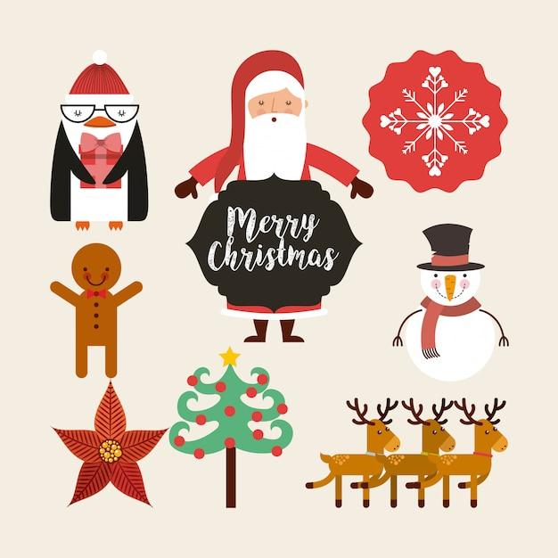 Set zahlen glücklich frohe weihnachten karte Premium Vektoren