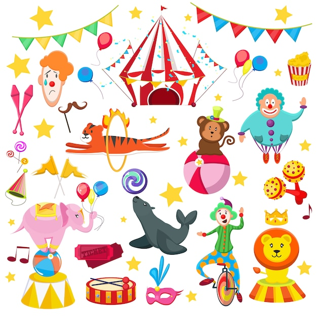Set zirkus buntes bild. löwentigersiegel mit ball, tiger hängt durch flammen, clownballaffen, köstliche bonbons der lustigen hüte, flaggen, karten, popcorn. Premium Vektoren