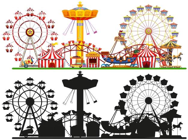 Set zirkus hintergrund Kostenlosen Vektoren