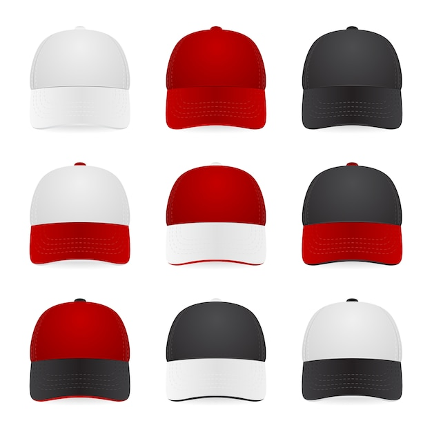 Set zweifarbiger kappen - weiß, rot und schwarz. illustration. Premium Vektoren