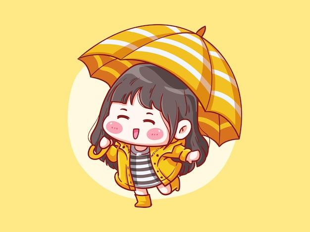 Settincute und kawaii girl wear raincoat spielen im regen Premium Vektoren