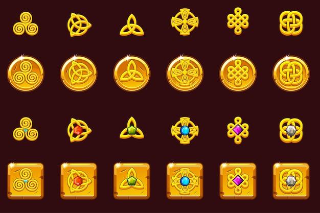 Setze keltische symbole mit edelsteinen. goldene münzen und quadrat mit edelsteinen. keltische ikonen des karikatursatzes. Premium Vektoren