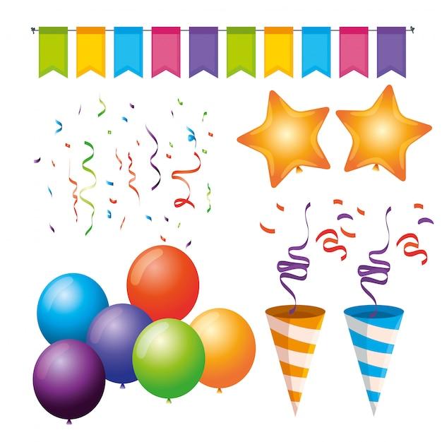 Setze party-deko mit luftballons, flaggen, sternen und konfetti zum event Kostenlosen Vektoren