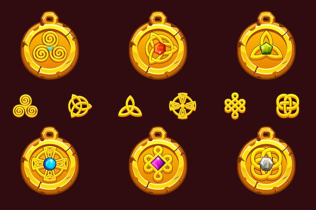 Setze talismane mit keltischen symbolen. keltische ikonen des karikatursatzes. Premium Vektoren