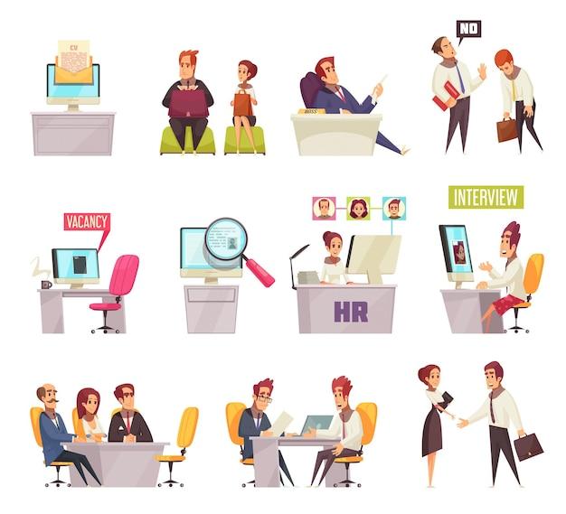 Setzen sie das rekrutieren des satzes ikonen und der zusammensetzungen von bildern mit karikaturbüroangestellten und arbeitsplätzen fort Kostenlosen Vektoren