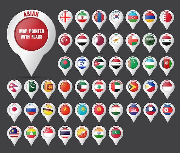 Setzen sie den zeiger auf die karte mit der flagge der asiatischen länder und deren namen. Premium Vektoren