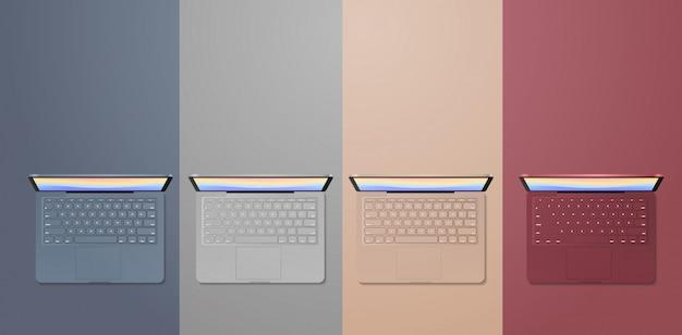 Setzen sie farbige laptops realistische modell gadgets und geräte konzept Premium Vektoren