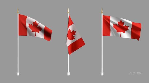 Setzen sie realistische kanada-flagge. winkende flagge textil. vorlage für produkte, werbung, banner, faltblätter, zertifikate und postkarten. illustration Premium Vektoren
