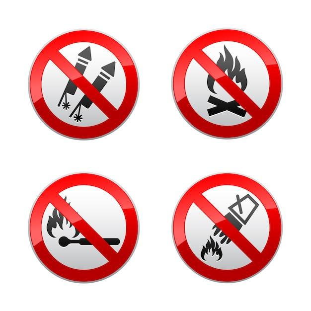 Setzen sie verbotene zeichen - feuer Premium Vektoren