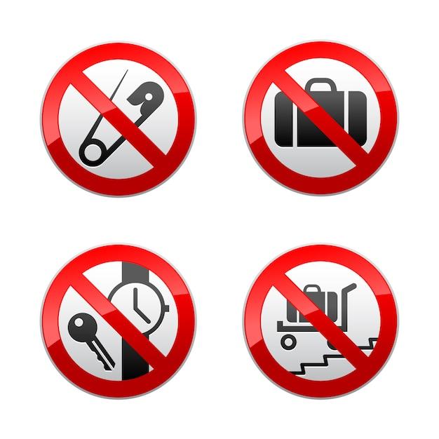 Setzen sie verbotene zeichen - flughafen Premium Vektoren