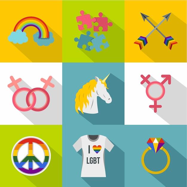 Sexuelle orientierung-icon-set, flachen stil Premium Vektoren