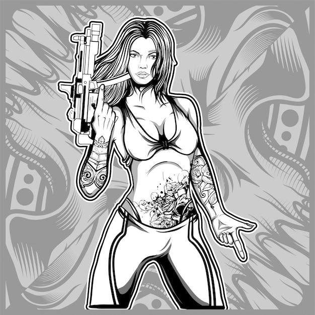Sexy frau, die eine gewehrhandzeichnung hält Premium Vektoren