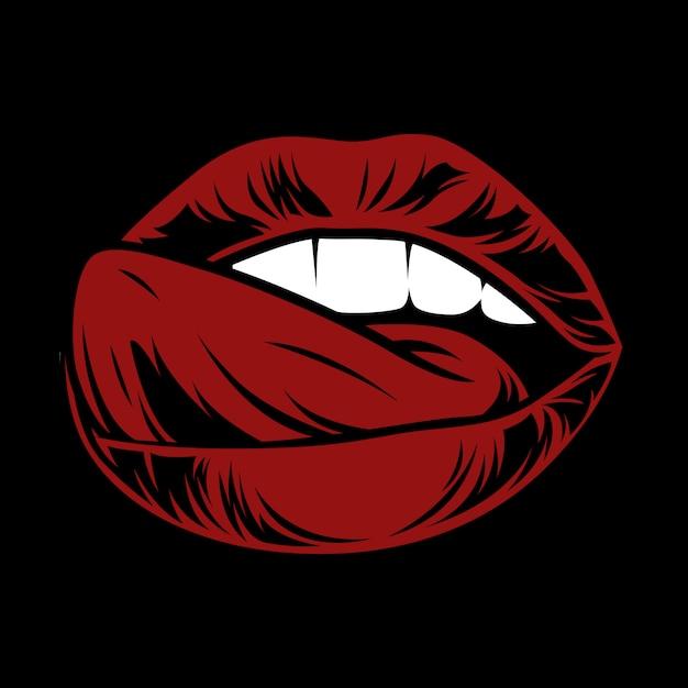 Sexy lippen. offener mund mit zunge. attraktiver weiblicher mund mit speichel. Premium Vektoren