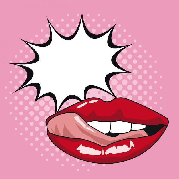 Sexy lippenpop-art mit spracheblase Premium Vektoren