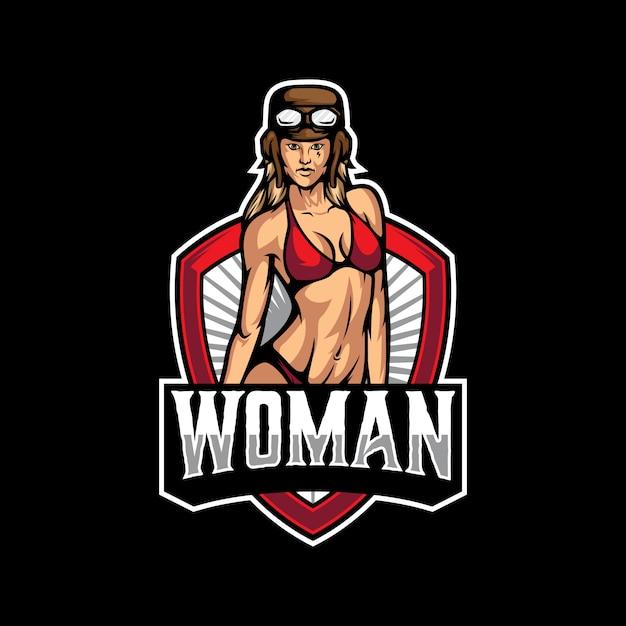 Sexy logo vorlage für frau Premium Vektoren