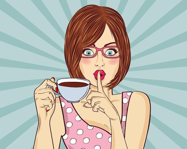 Sexy pop-art-frau mit kaffeetasse. werbeplakat in comic-stil. Premium Vektoren