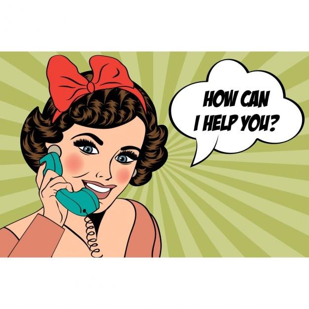 Sexy schöne frau auf dem retro-telefon popkunstillustration im chat Kostenlosen Vektoren
