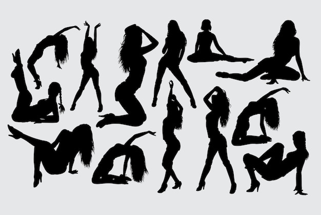 Sexy weibliches aktionsschattenbild Premium Vektoren