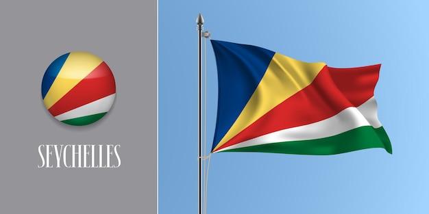 Seychellen wehende flagge auf fahnenmast und rundem symbol. realistische 3d des kreisknopfes Premium Vektoren