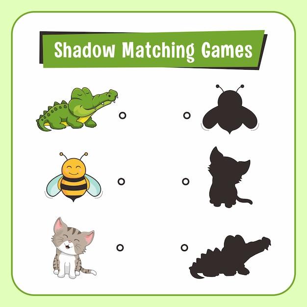 Shadow matching games tiere alligator bee cat Premium Vektoren