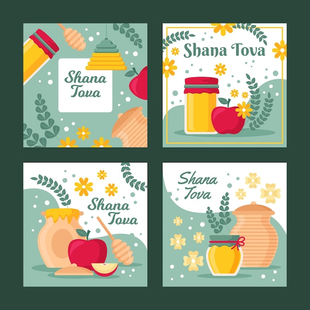 Shana tova grußkartensammlung Kostenlosen Vektoren