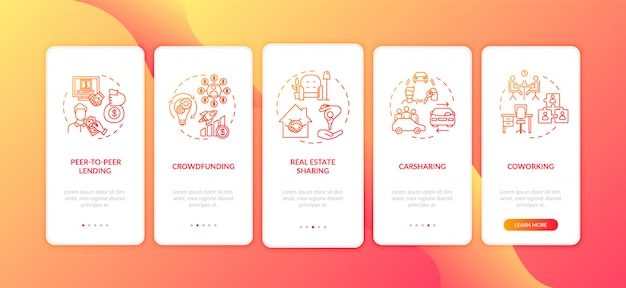 Sharing economy onboarding des bildschirms der mobilen app-seite mit konzepten Premium Vektoren