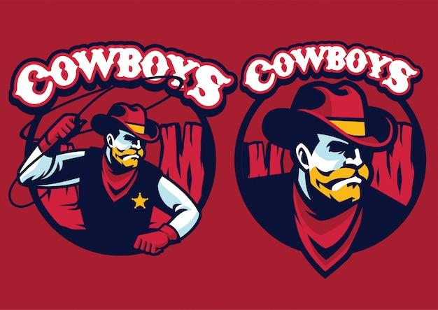 Sheriff maskottchen mit lasso Premium Vektoren