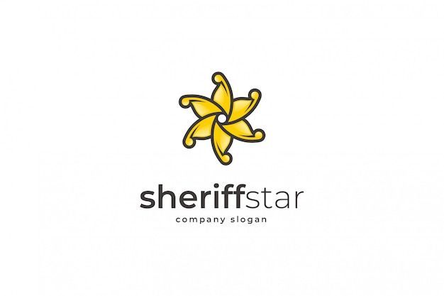 Sheriff star logo vorlage Premium Vektoren