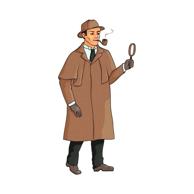 Sherlock holmes, englischer detektivcharakter Premium Vektoren
