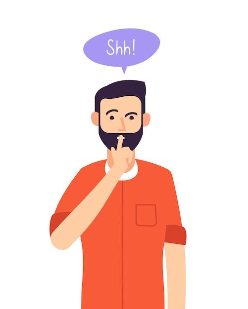 Shh mann. geschäftsgeheimnis, ernsthafter mann mit stiller handgeste am geschlossenen mund. schweigen bitte schweigen konzept Premium Vektoren