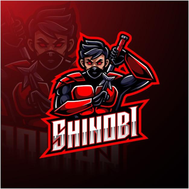 Shinobi sport maskottchen logo design Premium Vektoren