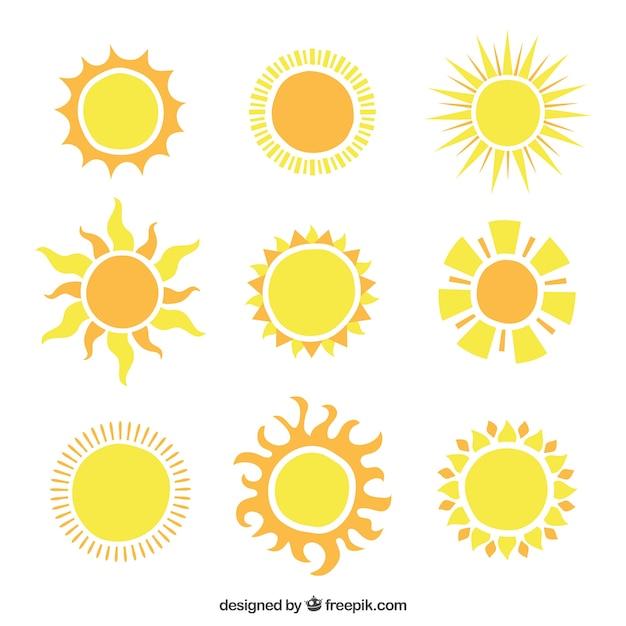 Shiny sonnen symbole Premium Vektoren