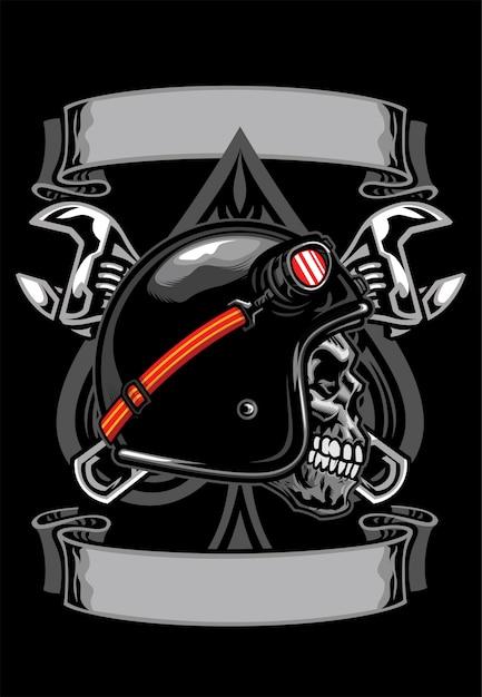 Shirt design schädel des bikers mit spaten und gekreuztem schraubenschlüssel Premium Vektoren