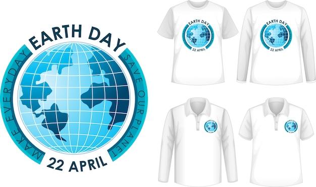 Shirt mit tag der erde design Kostenlosen Vektoren