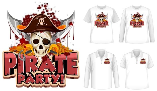 Shirt-set mit piraten-party-cartoon Kostenlosen Vektoren