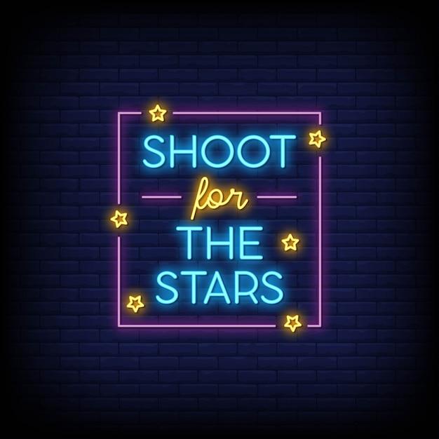 Shoot für die sterne für poster in neon-stil. moderne zitatinspiration im neonstil. Premium Vektoren