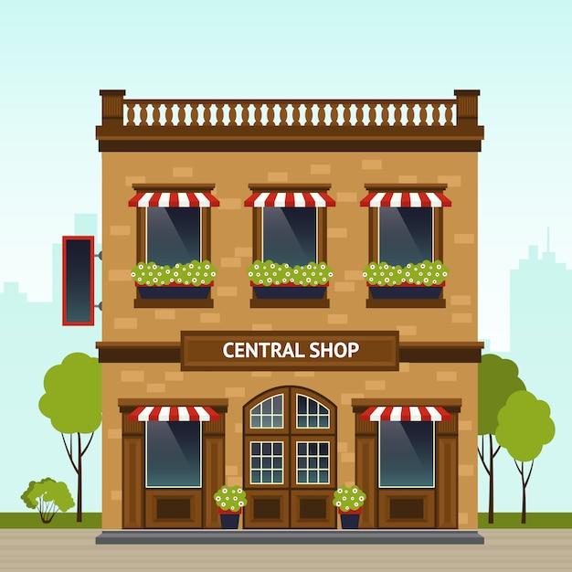 Shop-fassade-illustration Kostenlosen Vektoren