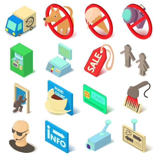 Shop-navigationsnahrungsmittelikonen eingestellt. isopmetrische karikaturillustration von 16 shopnavigationsnahrungsmitteln vector ikonen für netz Premium Vektoren