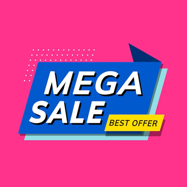 Shop-promotion-werbung für mega-verkauf Kostenlosen Vektoren