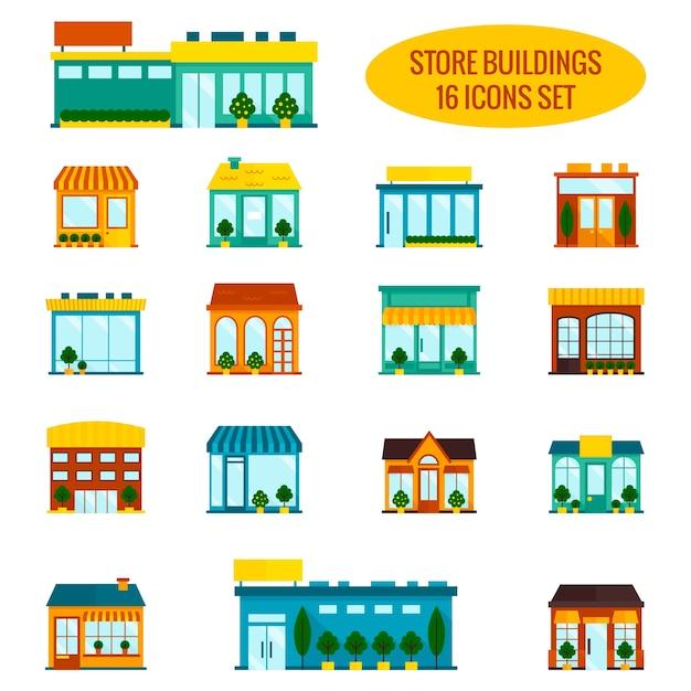 Shop shop front fenster gebäude icon set flache isoliert vektor-illustration Kostenlosen Vektoren