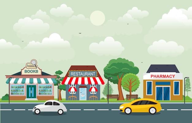 Shop-shop-landschaft in der stadtstadt mit baumhimmel Premium Vektoren